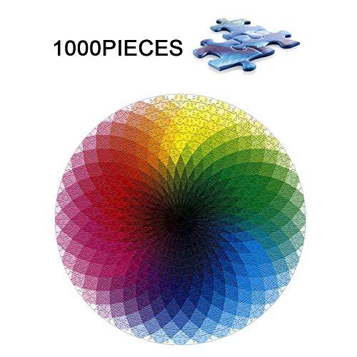 Gradient Ronde puzzel, 1000 stukjes Puzzel voor Volwassenen, Grote Regenboog puzzel, Intellective educatief speelgoed Cadeaus voor het stimuleren van de Verbeelding