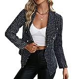 Pabuyafa Chaquetas blazer de manga larga con botones de solapa para mujer, estilo casual, elegante, para oficina, para trabajo, Negro, 40