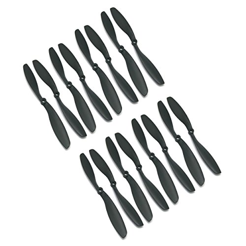 RAYCorp 8045 8x4.5 Propellers. 16 Pieces(8 CW, 8 CCW) Black 8-inch Quadcopter and DJI F450 Props + Battery Strap