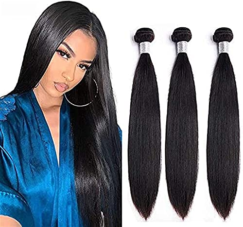 HTDYLHH Belle parrucche, Tessitura indiana Meche Human Hairing Hairing in Set di 3 capelli morbidi Colore # 1b Capelli neri naturali Bundle corto capelli corti 300g for le donne 10 12 14 pollici da ca