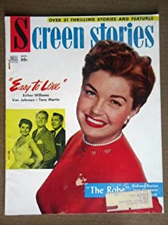 SCREEN STORIES magazine October 1953 with ESTHER WILLIAMS on the cover. Scarce. Inside we have full page ad and an article on From Here to Eternity with MONTGOMERY CLIFT. Photos/articles on Roman Holiday w/ Audrey Hepburn and Gregory Peck, The Robe w/ Richard Burton, Disney's The Living Desert,Ginger Rogers & Barbara Stanwyck.