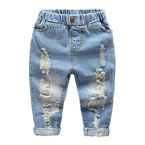 LAPLBEKE Bambino Ragazzi Jeans Pantaloni 4 Tasche Strappati Vita Elastica Pantaloni Casual Primavera e Autunno Denim Pants Blu 1-2 Anni