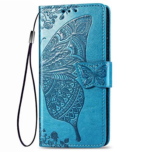 Dedux Brieftasche Hülle für Samsung Galaxy S10 Lite, Geprägt Schöne Schmetterlinge & Rose Blume Lederbezug, Premium Leder Flip Schutzhülle mit Standfunktion & Kartenfächer, Blau