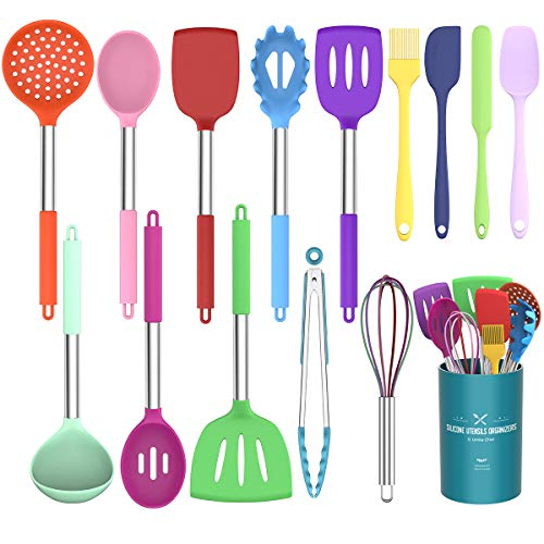 Umite Chef Kitchen Utensils Set, 15 pcs Silicone Cooking Kitchen Utensils Set, Non-stick Silicone Stainless Steel Handle Turner Spatula Spoon Tongs Whisk Cookware - Colorful