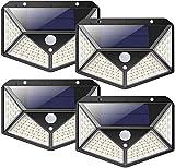 nuosife Solares para Exteriores, Apliques de Exterior, Luz Solar Exterior, 3 Modos de Trabajo, Iluminación de 270 °, Inalámbricas, IP65 Impermeables, 100 LED, 4 pcs - Jardín, Terraza ect.
