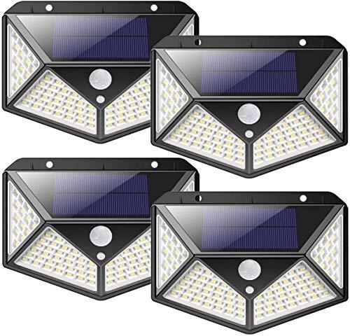 nuosife Solares para Exteriores, Apliques de Exterior, Luz Solar Exterior, 3 Modos de Trabajo, Iluminación de 270 °, Inalámbricas, IP65 Impermeables, 100 LED, 4 pcs -...