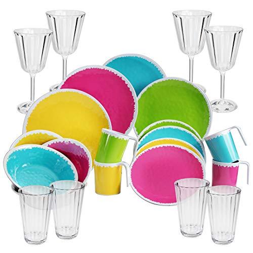 Buntes Melamin Geschirr mit Kristall Acryl-Gläser für 4 Personen in 24 Teile - ideal für Camping - Große, kleine Teller, Schälchen, Weinglas Wasserglas - sehr robust - farbecht - sommerliches Design