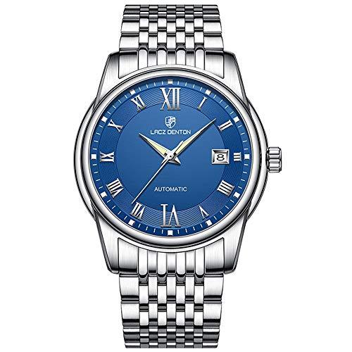 Orologi meccanici automatici da uomo LACZ DENTON, orologio da uomo impermeabile a carica automatica in acciaio inossidabile di lusso