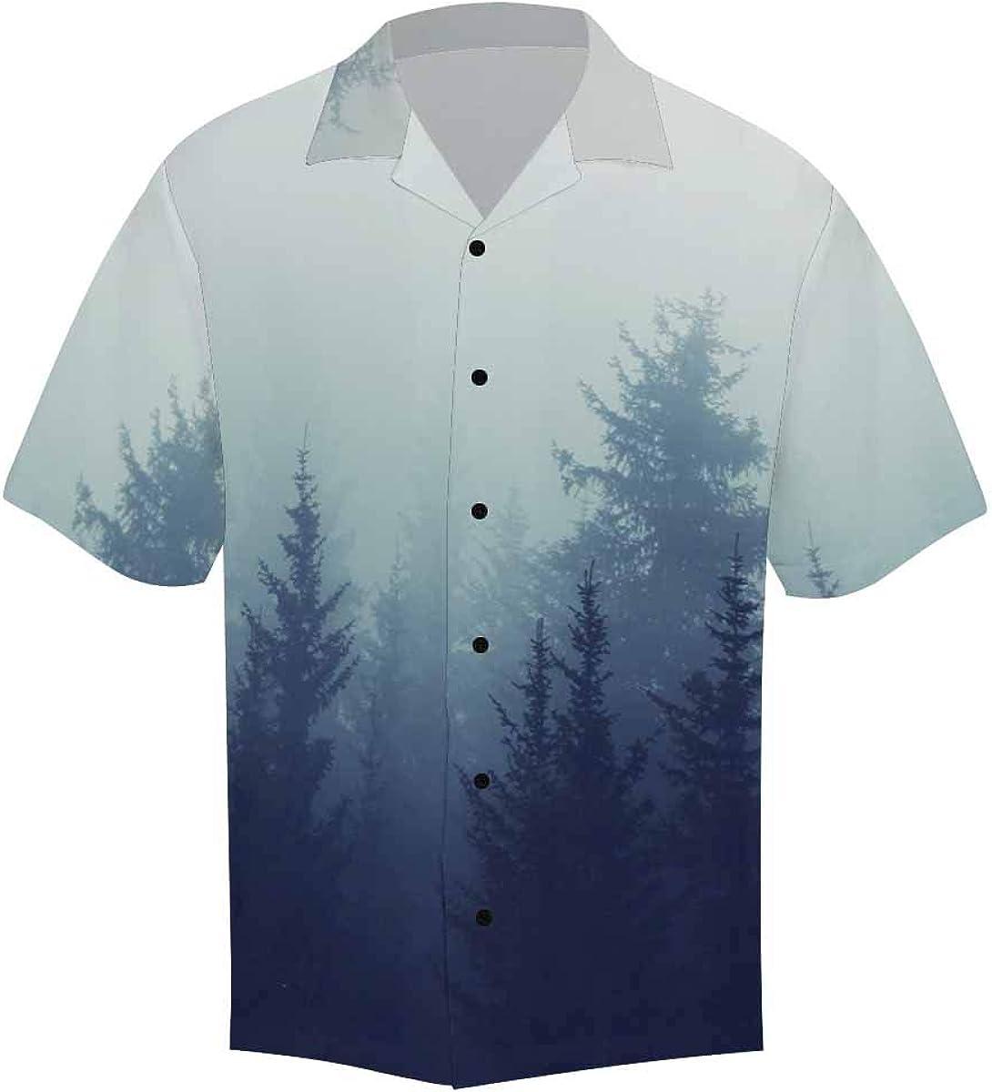 InterestPrint Men's Casual Button Down Short Sleeve Misty Mog Forest Hawaiian Shirt M