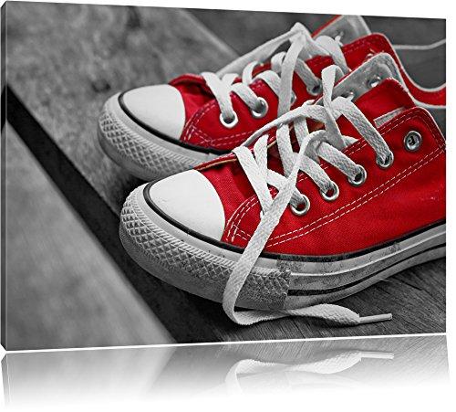 Coole rote Chucks Schuhe schwarz/weiß Format: 120x80 auf Leinwand, XXL riesige Bilder fertig...