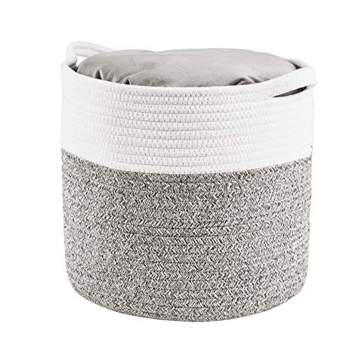 HITSLAM Woven Rope Basket with Handles Collapsible Laundry Basket Cotton Storage Basket for Towels Blanket Toys Gray  M