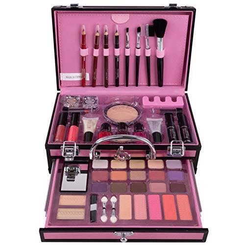 JasCherry Schminkkoffer Multifunktions Schmink Kosmetik Make-up Set mit Lidschatten, Lipgloss, Blush...