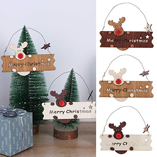 KISSNOWY Wooden Merry Christmas Sign - Cute Elk Decorative Hanging Signs for Xmas,Set of 3