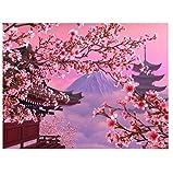 Full Drill Square Round Diamond DIY Gemälde Sakura Landschaft Bilder von Diamant Mosaik Diamant Stickerei Verkauf Mount Fuji Japan