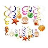 Kristin Paradise 30Ct Seashell Hanging Swirl Decorations, Ocean Shell Party Supplies, Under The Sea Birthday Theme, Starfish Seahorse Kids Decor for First 1st Boy Girl Baby Shower, Sealife Favors