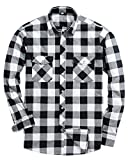 Alimens & Gentle Men's Button Down Regular Fit Long Sleeve Plaid Flannel Casual Shirts Color: White, Size: Large