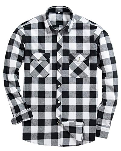 Alimens & Gentle Men's Button Down Regular Fit Long Sleeve Plaid Flannel Casual Shirts Color: White, Size: Medium