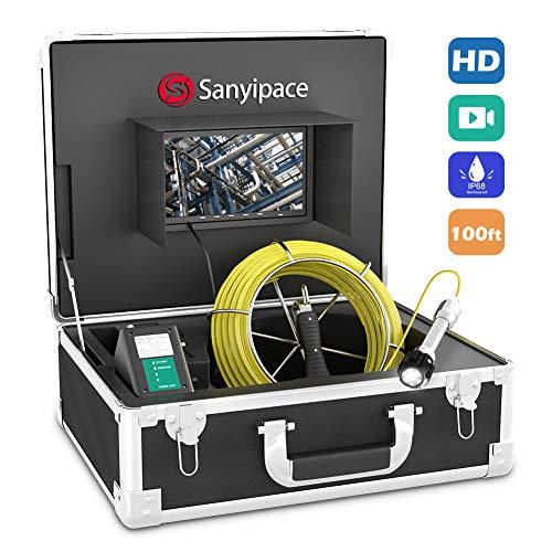 """Rohrkamera 30M mit DVR, Endoskop Inspektionskamera HD für Abfluss Inspektion IP68 Wasserdichtes Professionelle Kanalkamera mit Lichter Videoinspektion Rohrdetektor mit 7\"""" LCD Monitor 1000TVL CCD"""