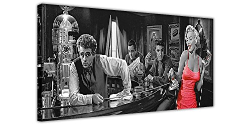 Kunstdruck auf Leinwand, Motiv Monroe Elvis James Dean und Humphrey, Panorama-Bild, Schwarz/Weiß, Schwarz , 03- 24
