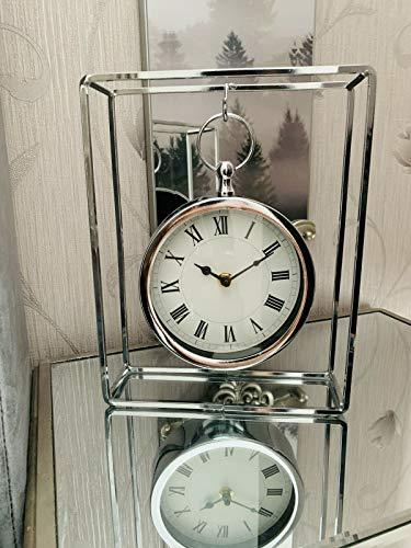 Moderne hängende Mantel Tischuhr Nachttisch hängende Chrom runde Uhr Dekor