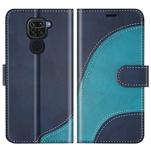 BoxTii Hülle für Xiaomi Redmi Note 9 / Redmi 10X 4G, Leder Handyhülle für Xiaomi Redmi Note 9 / Redmi 10X 4G, Ledertasche Klapphülle Schutzhülle mit Kartenfächer & Magnetverschluss, Blau