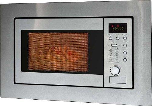 Mikrowelle mit Grill Einbau mit Rahmen und Edelstahlfront Einbaumikrowelle (1000 Watt Grill, 20 Liter Garraum, Timer, Silber)