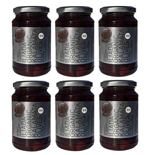 6 Gläser BIO Kalamata aus Griechenland ohne Kern je 370g (180g Abtropfgewicht) schwarze Oliven Iliada organic olives 6er Spar Set + 10ml Olivenöl zum Test