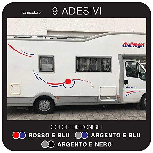 kamiustore Adesivo Challenger Genesis per Camper in Vinile prespaziato - Kit 9 Adesivi componibili