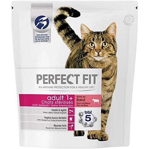 Perfect Fit Croquettes pour chat adulte stérilisé, riche en bœuf, 5 sacs de 1,4kg