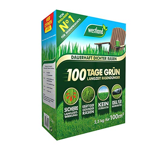 Westland 100 Tage Grün 733544, Langzeit Rasendünger, Granulat, Dunkelbraun, 2,5 kg für 100 m²