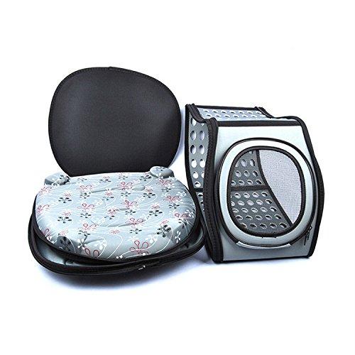 Foldable Pet Dog Carrier Cage Collapsible Travel Kennel - Portable Pet Carrier Outdoor Shoulder Bag for Puppy Dog Cat (L, Grey)