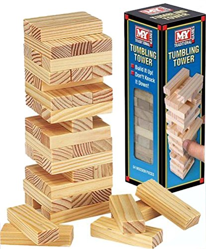 Wooden Tumbling Stacking Tower Kids Family Party Board Game by Holland Plastics Original Brand