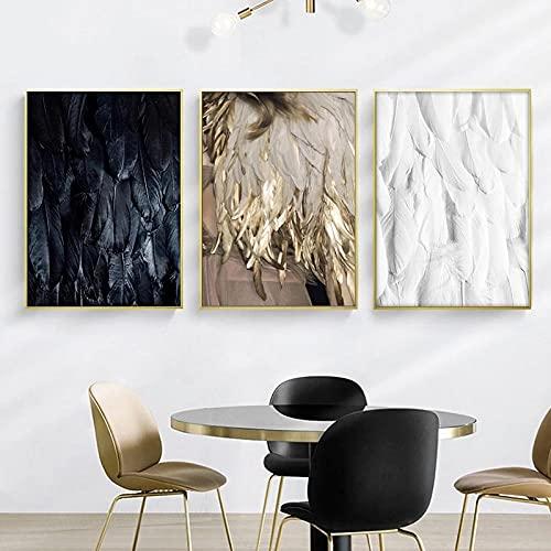 BIANWENSUAI Pluma Color Dorado Lámpara Póster Impresión en Lienzo Pared Estilo Minimalista nórdico Arte Modular Sala de Estar Dormitorio Hogar Sin 40x62cmx3 Sin Marco