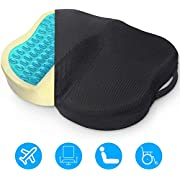 COMSOON Seat Cushion, Cooling Gel Office Chair Cushion for Pressure Relief, Non-Slip Memory Foam Tailbone Pain Relief Cushion Butt Pillow for Chair, Car, Airplane & Wheelchair
