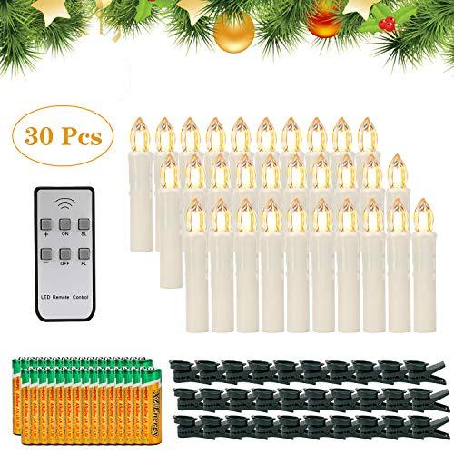 30er LED Kerzen,EXTSUD LED Weihnachtskerzen mit Batterien&Fernbedienung, IP64 Dimmbar Kerzenlichter Warmweiß Flammenlose Kerzen für Weihnachtsbaum,Weihnachtsdeko,Hochzeitsdeko,Geburtstags,Party