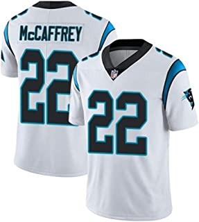 NFL masculino #22 McCAFFREY Carolina Panthers Tee/Camisetas,fútbol americano Fans Jugadores Jersey Rugby Top deportivo manga corta,Camisa cuello v Ropa deporte entrenamiento Chándal aire libre