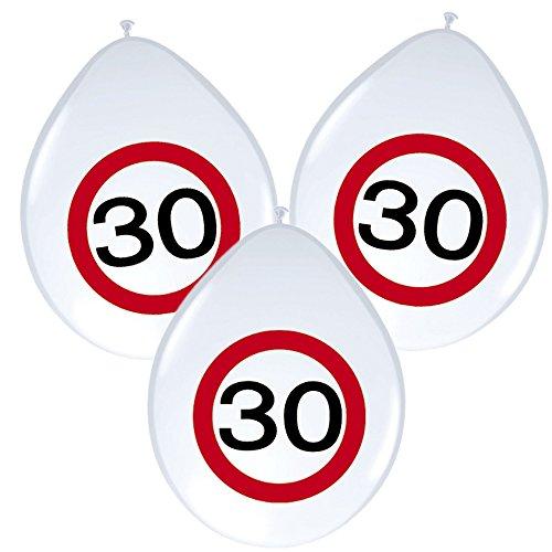 8 Ballons * anniversaire 30 ans * avec panneau de signalisation de design/Décoration/Kit de Balloons Ballon Decoration Anniversaire 30 Ans