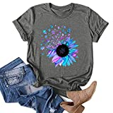 VEKDONE Women Tops Summer Casual Short Sleeve Sunflower Graphic Tees Workout Shirts Blouses Womens Tshirts Loose Fit