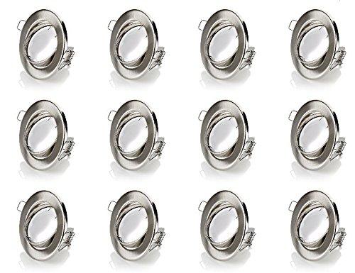 sweet-led Set 12 x GU10 Einbaustrahler LED, 230V, 3W - 210Lumen , Schwenkbar, Rund, Chrom gebürstet, (ersetzt 25W), Warmweiß