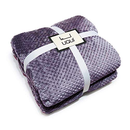 U UQUI Lavender Flannel Fleece Luxury Blanket Purple Twin Size Lightweight Cozy Plush Microfiber Solid Blanket 59 by 78inches