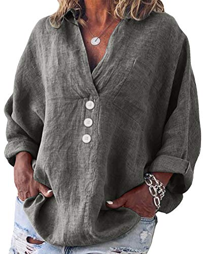 Yidarton Bluse Damen Langarm Oberteil Casual V-Ausschnitt Tops Tunika Lose Baumwolle Große Größen Hemd Leinenbluse (Grau, L=(EU 38-40))