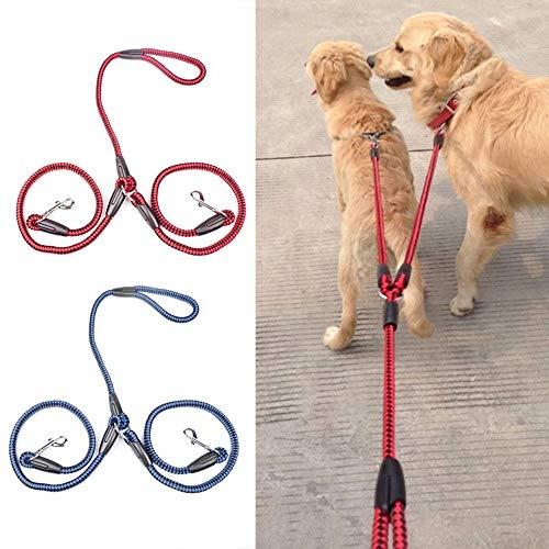 YYSD Cinta de Nailon Correa de Perro Doble Un enredo Trenzado de Arrastre para Caminar Entrenamiento Tamaño Ajustable Cables para Mascotas Cinturón Cuerda de tracción de Seguridad