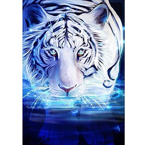 5D DIY Pintura de diamante Completo Drill kit digital Tigre blanco y negro adultos niños Diamante Pintura Redondo cristal de imitación Diamond painting de bordado hogar decoración de la pared 70x80cm