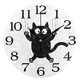linomo Bonito reloj de pared con diseño de gato negro, silencioso, no hace tictac, silencioso, para cocina, sala de estar, dormitorio, baño, oficina