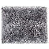 LOCHAS Ultra Soft Fluffy Rugs Faux Fur Sheepskin Area Rug for Bedroom Bedside Living Room Carpet Nursery Washable Floor Mat, 2x3 Feet Gray