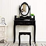 Unihome Vanity Set with Mirror and Cushioned Stool Dressing Table Vanity Makeup Table 4 Drawers for...