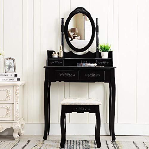 Unihome Vanity Table-Dressing Table with Mirror and 4 Drawers White Bedroom Makeup Table for Women