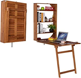 Facilehome Wall-Mounted Teak Wood Desk Wall Mounted Convertible Desk with Storage Outdoor and Indoor Tables
