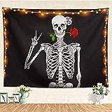 Psychedelischer weißer schwarzer Zuckerschädel Wandbehang Mandala Art Hippie Hippie Dekoration Stoffdecke A4 150x200cm