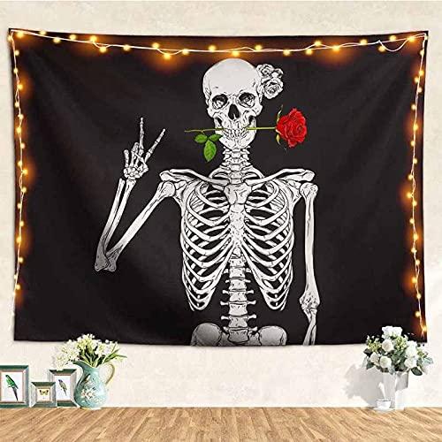 Psicodélico blanco negro azúcar calavera tapiz colgante de pared mandala arte hippie hippie decoración manta de tela A4 180x230cm